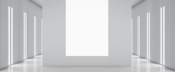 Blank white poster on light grey partition in styliesh empty room in grey shades and led lights on walls. 3D rendering, mock up